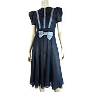 Pretty 1940's Perry Brown Rayon Crepe Belted Day Dress