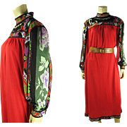1970's Vintage Vividly Printed Leonard Jersey Maxi Dress In Larger Size