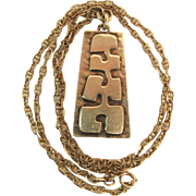 Reyt French Modernist 950 Silver Pendant On 24 Inch Anchor Chain