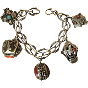 Antique Peruzzi 800 Silver 8 1/2-Inch Etruscan Bracelet With Five Gemstone And Cannetille Charms