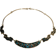 Beautifully Made Vintage Mexican 950 Silver Necklace With Turquoise Aggregate Inlay