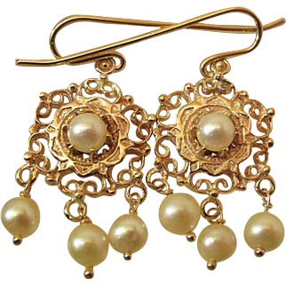 Drippy Vintage 14K Yellow Gold 8-MM Cultured Pearl Dangle Earrings