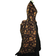 Antique 1870's Victorian Silk Damask Polonaise Overdress In Larger Size