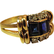 Fine Circa 1940 Art Moderne 14K Yellow Gold Natural Blue Sapphire And Diamond Cocktail Ring