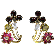 Vintage Pair Of 14K Gold Mixed Gemstone Clip Earrings With Diamonds ON LAYAWAY