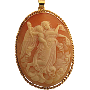 Fine Antique Eos (Day) And The Genius Of Light Cameo Pendant In 14K Yellow Gold
