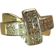 14k Yellow Gold 1.2 Carat Princess Cut Diamond Ring With Cross Shaped Face