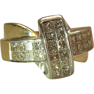 14k Yellow Gold 1.2 Carat Princess Cut Diamond Ring With Cross Shaped Face
