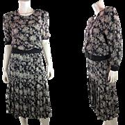 1980's Vintage Valentino Three-Piece Printed Silk Day Dress - Size 16