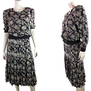 1980's Vintage Valentino Three-Piece Printed Silk Day Dress - Size 16