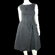 Smart 1960's French Little Black Bouclé Dress With Simone Robin Paris Label