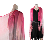 Gossamer 1920's Pink Ombré Silk Chiffon Shawl With Fringe