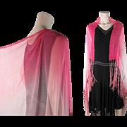Gossamer 1920's Pink Ombré Silk Chiffon Shawl With Fringe