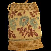 Colorful Antique Regency Hand Knit Drawstring Reticule Purse