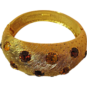 Textural Vintage Castlecliff Hinged Bracelet With Yellow And Amber Rhinestones