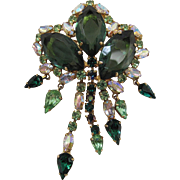 Vintage Hattie Carnegie Brooch With Aurora Borealis And Green Rhinestone