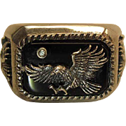 BGE Sterling Silver And Black Onyx Eagle Biker's Ring With Diamond Size 13.5