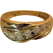 Vintage Men's / Unisex 14K Yellow Gold Ring With .6 Carats Of Graduated Diamonds