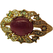 Vintage Weinman Brothers 14K Yellow Gold Ruby, Zircon And Diamond Cocktail Ring Size 10