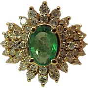 Opulent Vintage BH 14k Gold .77 Carat Natural Emerald Cocktail Ring With 1.38 Carats Of Diamonds