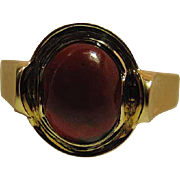 Antique 14k Yellow Gold Bohemian Garnet Cabochon / Carbuncle Ring