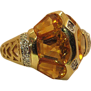 Dramatic 14k Yellow And White Gold Citrine And Diamond Unisex Ring