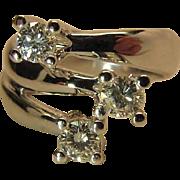 Dramatic 14K White Gold Three Diamond .78 Carat Cocktail Ring
