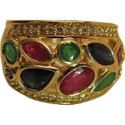 Romantic 14k Yellow Gold Mogul Ring With Natural Emeralds Rubies Sapphires And Diamonds