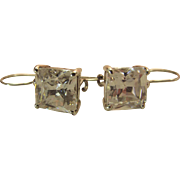 Luminous Vintage 4.62 Carat (Each) Rock Crystal Sterling Silver Kidney Wire Earrings