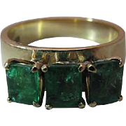 Antique 18K Gold Three Stone Natural Emerald Ring 1.52 Carats