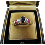 Vintage 14K Yellow Gold Natural Sapphire Ruby And Diamond Ring