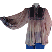Romantic 1970's Vintage Gauzy Sheer Cotton Peasant Blouse By Kaiser India