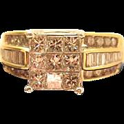 Dazzling 14K Gold 1.9 Carat Mixed Cut Diamond Cocktail Ring