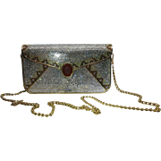 Vintage Judith Leiber Full Crystal Envelope Clutch Minaudiere Handbag With Stone Cameo