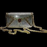 Vintage Judith Leiber Full Crystal Envelope Clutch Minaudiere Handbag With Stone Cameo