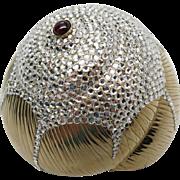 Vintage Judith Leiber Crystal Sea Shell Minaudiere Handbag With Tourmaline Gemstone And Box