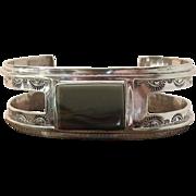 Vintage Navajo Sterling Silver Landscape Agate Cuff Bracelet Signed Baca