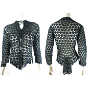 Outstanding Antique Victorian Beaded Crochet Lace Jacket For Bustle Silhouette