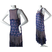 Ca. 1970 Vintage Star Of India Printed Cotton Gauze Sleeveless Dress