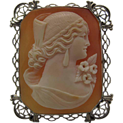Antique Circa 1915 14K White Gold Filigree Cameo Brooch / Pin