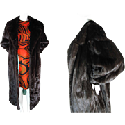 Luscious Vintage Bespoke / Custom Black Mink Coat In Larger Size