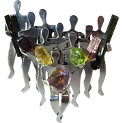Whimsical Figural Sterling Silver Modernist Brooch With Tourmaline Citrine And Ametrine Gemstones