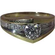 Sleek Modern 14k Gold Maine Estate Diamond Ring With .50 Carat Center Stone And Side Diamonds