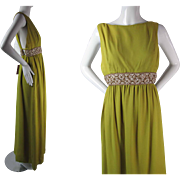 Late 1960's Early 1970's Vintage Unworn Elinor Simmons For Malcolm Starr Beaded Evening Gown With Original Hang Tags