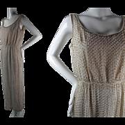 Elegant 1960's Vintage Beaded And Rhinestone Encrusted Ivory Silk Evening Gown