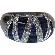 Le Vian 18K White Gold Blue Sapphire And Diamond Cocktail Ring