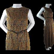 Exotic 1960's Vintage Jeweled Metallic Brocade Sleeveless Evening Gown / Dress