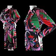 1970's Unworn Don Luis De Espana Printed Jersey Dress With Original Store Hang-Tags