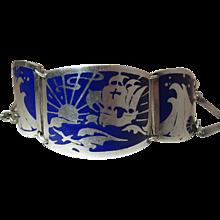 Antique Arts & Crafts Enameled Silver Bracelet With Sailing / Sea Motif