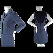 1960's Vintage Bill Blass For Maurice Rentner Cadet Blue Dress And Jacket Ensemble